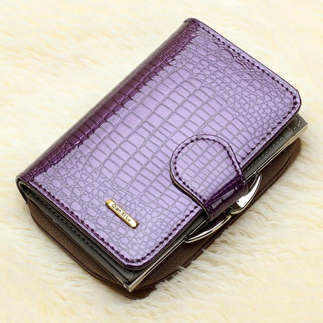 Fashion Real Patent Leather Women Short Wallets Small Wallet Coin Pocket Creditintothea-intothea