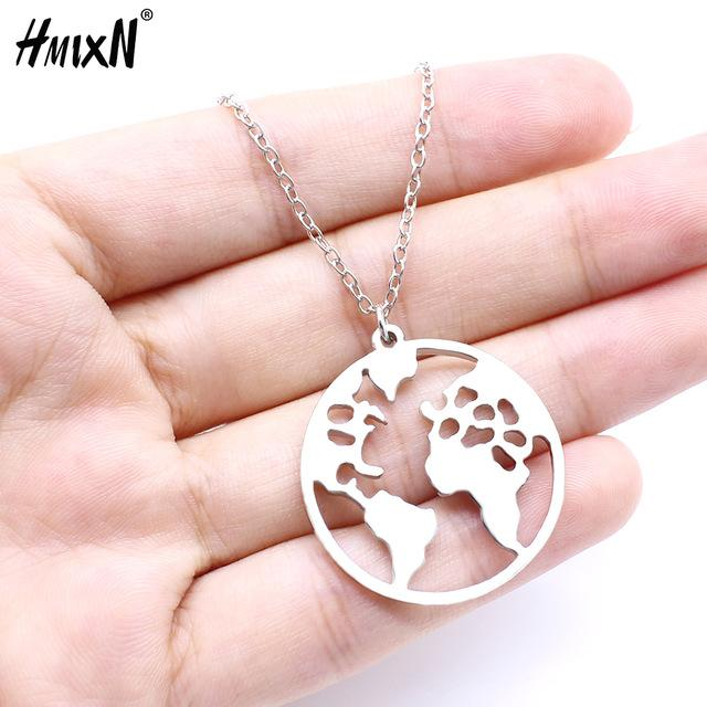 2019 New World Map Pendant Necklaces Earth Day Wanderlust Personalized jewelry Outdoorintothea-intothea