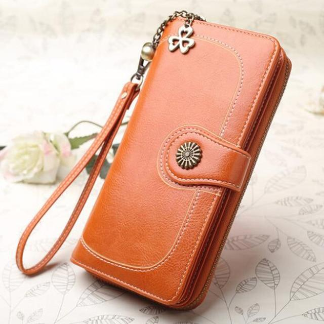 Fashion Women Yellow Clutch 2018 Leather Wallet Woman Zipper Long Wallets Femaleintothea-intothea