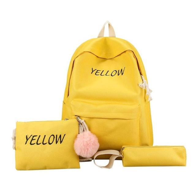 4pcs/set Canvas School bags Set for Girls Female Backpack Schoolbags Feminine Bookintothea-intothea