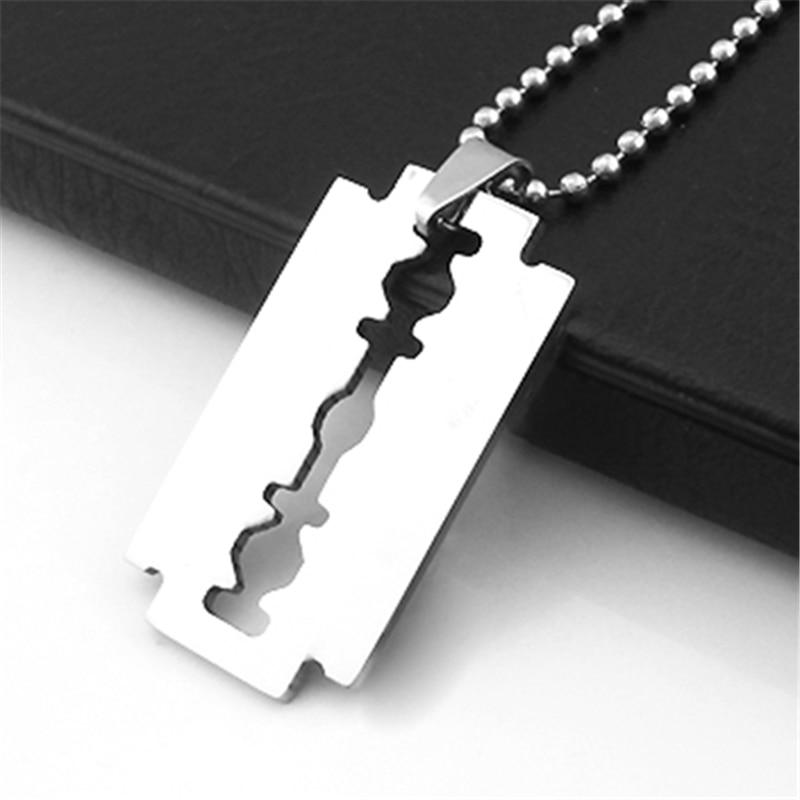 New Arrival Creative Men's Stainless Steel Razor Pendant Silver Color Ball Bladeintothea-intothea