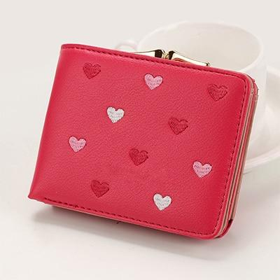 Japanese Multi-function Women's Mini Wallet Candy Color Heart-shaped Embroidery Women Short Walletintothea-intothea