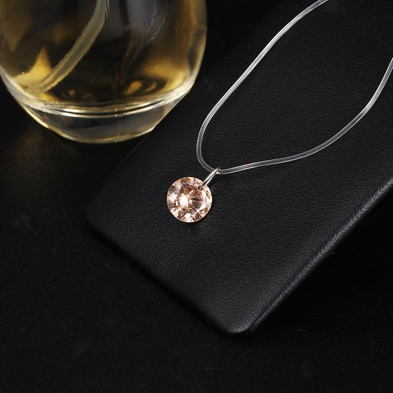 2018 New Fashion Simple Crystal Pendant Necklace For Women Cheap Transparent Fishingintothea-intothea