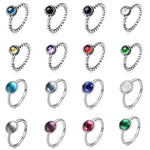 16 Color Women Silver Charms 925 Stone Ring Yellw Blue Red Purpleintothea-intothea