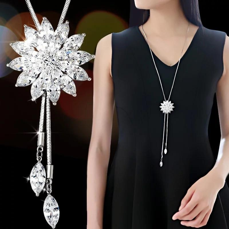 Women Long Necklace Collier Femme 2018 Fashion Silver Color Crystal Snowflake Necklacesintothea-intothea