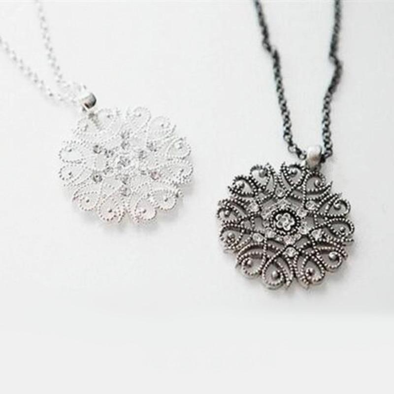 collares Fashion New Vintage Style Flower Crystal Women Black Silver Necklace Longintothea-intothea