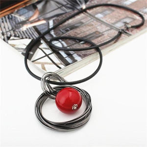 New Fashion circles simulated pearl ball pendant long necklace women black chainintothea-intothea