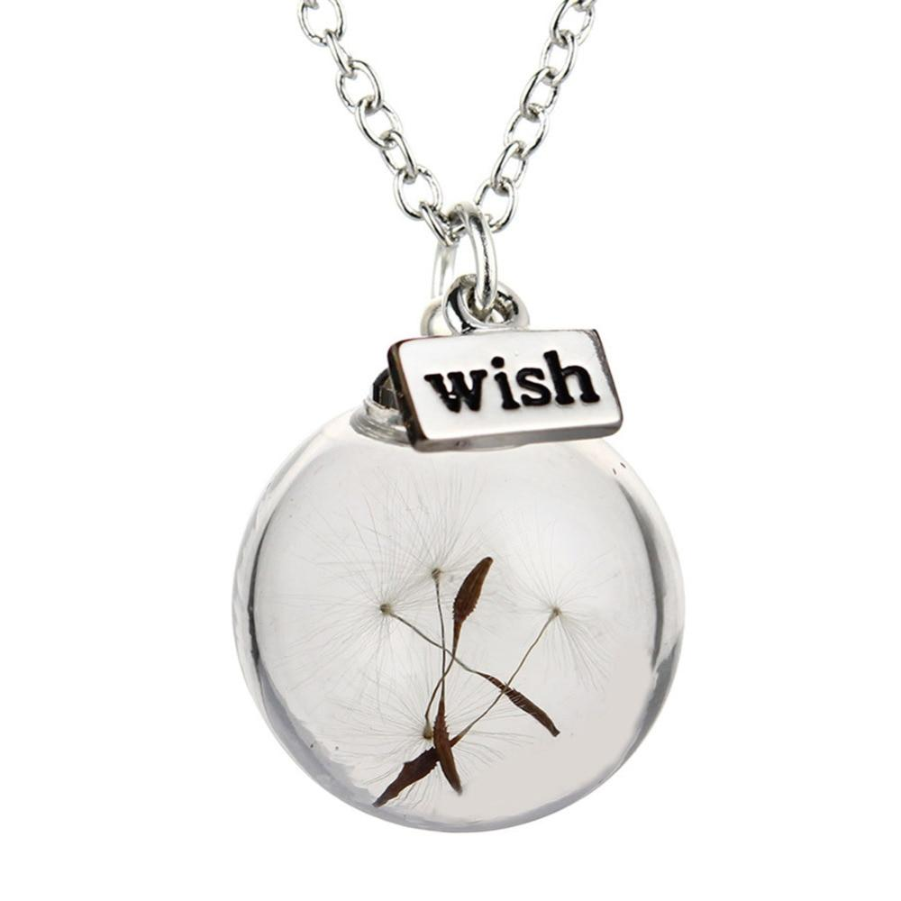 New Fashion Glass Ball Dandelion Pendant Wish Silver Long Chain Statement Necklaceintothea-intothea