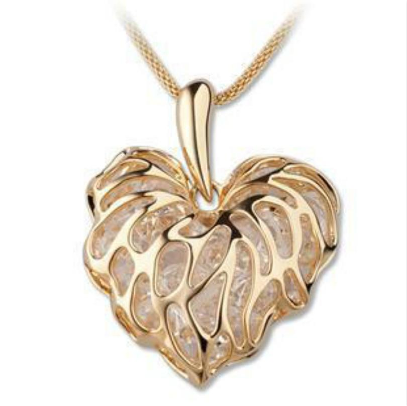 Hollow Gold Love Leaves Built-in Sparkling Zircon Sweater Chain Ornaments European Andintothea-intothea