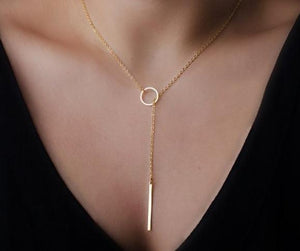 Hot new Romantic Women Accessories Fashion Plated Metal Chain Bar Circle Lariatintothea-intothea