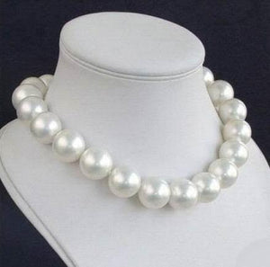New 14MM Round White Sea Shell Pearl Necklace Women Girls Gifts Beadsintothea-intothea