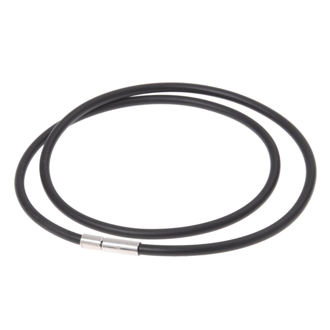 3mm Black Rubber Cord Necklace with Stainless Steel Closure - 18 Inchintothea-intothea