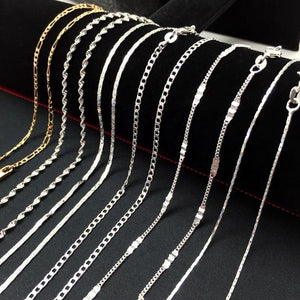 16-30inch Trendy Water Wave Chain Charm Figaro Flat Bead Chain Necklaceintothea-intothea