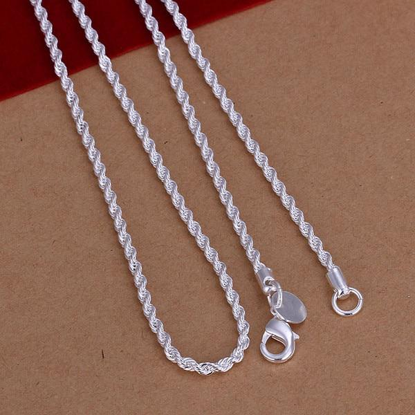 Twist chain 24'' 60cm Long necklace for Fat Women's 2mm High-quality 925intothea-intothea