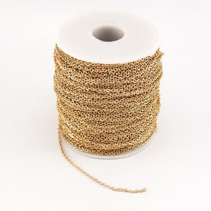 100% Stainless Steel Gold Metre Link Chain Necklace 2mm Width Rolo Linkintothea-intothea