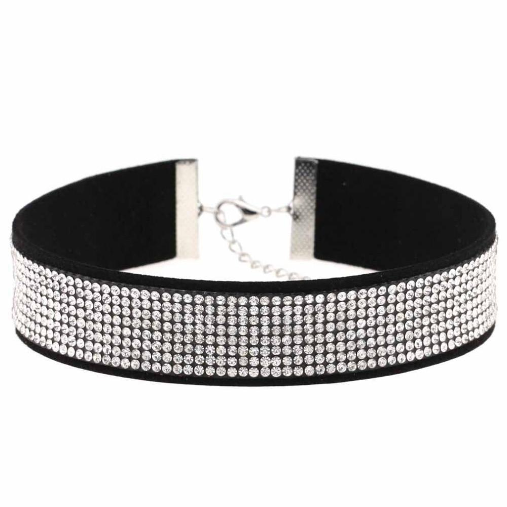 2017 Black Leather Velvet Rhinestone Choker Necklace Women Crystal Choker Statement chockerintothea-intothea