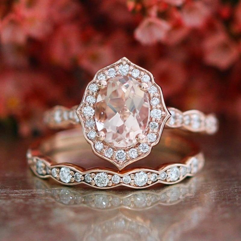 Female Big Oval Stone Ring Set Luxury 925 Silver/Rose Gold Ring Vintageintothea-intothea