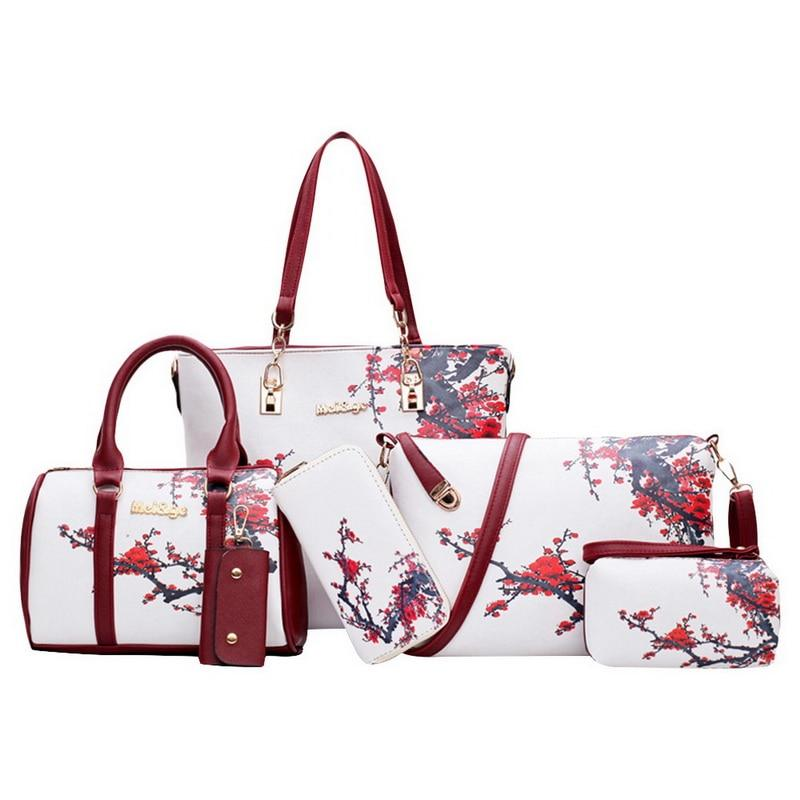 2019 New Set Tote Bag Floral Print Pu Leather Women Print Messengerintothea-intothea