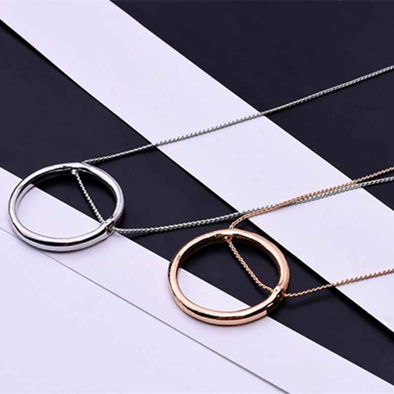 Fashion geometry circle pendant necklace for women/men gold /silver color hollow roundintothea-intothea