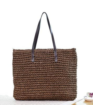 Women Beach Bag Zipper Large Ladies Handbags Handmade Straw Bag For Womenintothea-intothea