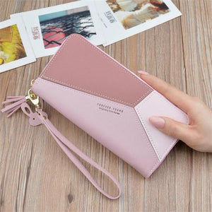New Fashion Ladies Wallet Women Long Wallets Zipper Purse Patchwork Panelled Walletsintothea-intothea