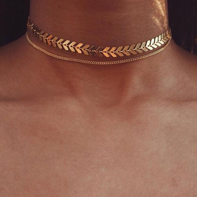 2019 Gold Color metal Two Layer Choker Necklaces Fishbone Chain simple jewelryintothea-intothea