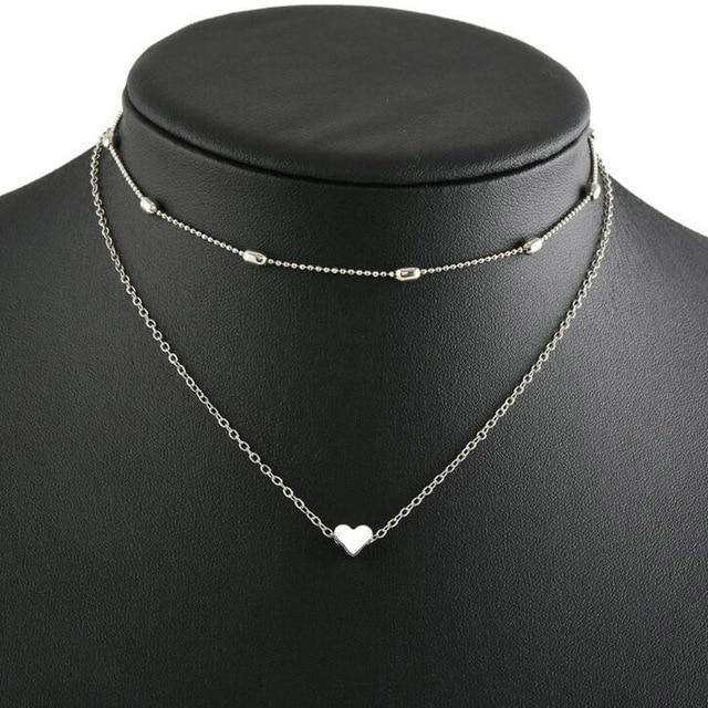 Fashion Jewelry Love Heart Adjustable Necklace For Women Multilayer Chain Choker Necklaceintothea-intothea