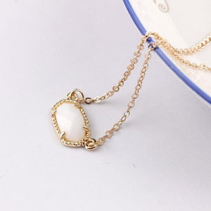 2018 New Gold Mini Oval Stone Pendant Claw Choker Necklace for Womenintothea-intothea
