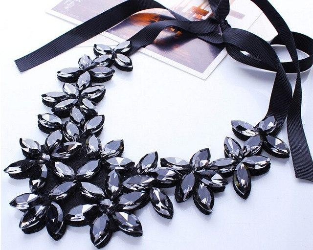 Brand Design Temperament Vintage Black Ribbon Chain Necklaces & Pendants Shiny Crystalintothea-intothea
