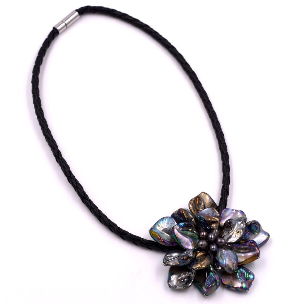 Fashion jewelry baroque mother of pearl flower black pearl necklace with wovenintothea-intothea