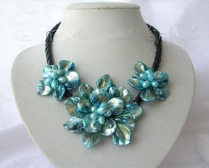 classic baroque blue freshwater cultured pearl shell flower necklaceintothea-intothea