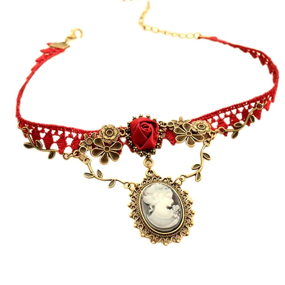 Necklaces Pendants Vintage Choker New Stylish Cameo Red Rose Lace Fashion Jewelryintothea-intothea