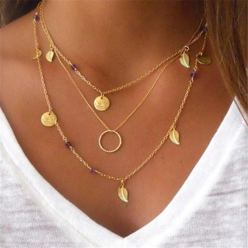 Leaves Pendants Multilayer Necklace Choker Necklace Fashion Chain Gold Necklace Statement Necklaceintothea-intothea