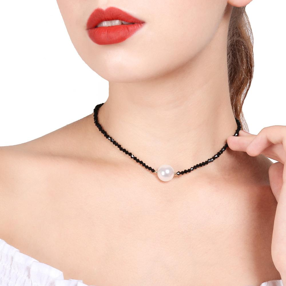Fashion Cute Black Crystal Chain Choker Necklace Simulated-pearl Pendant Neck Collar Jewelryintothea-intothea