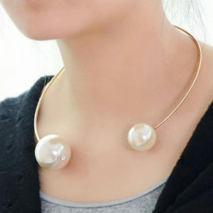 2018 NewBig Simulated Pearl Torques Gold Color Chokers Necklaces For Women Doubleintothea-intothea