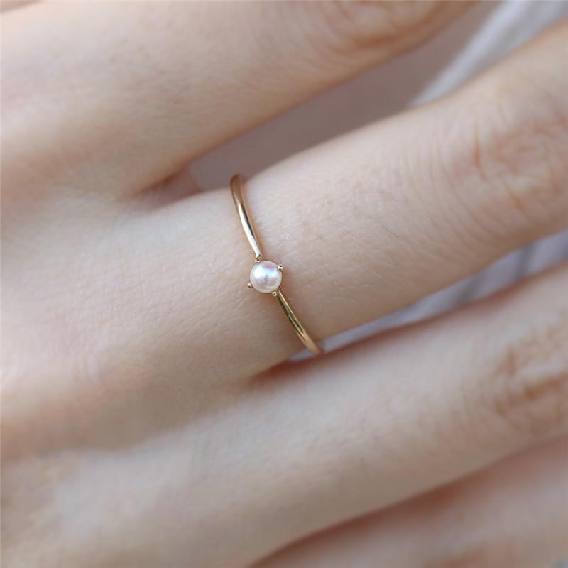 Luxury Women Mini Simulated Pearl Ring Small Thin Rings Gold Colorintothea-intothea