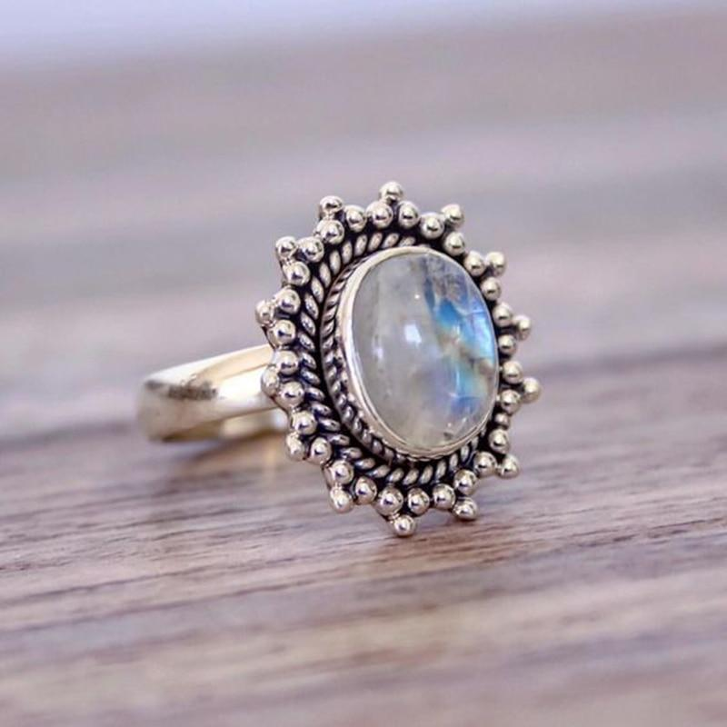 Bohemia Retro Moonstone Ring Antique Silver Rings for Women Wedding Engagement Giftintothea-intothea