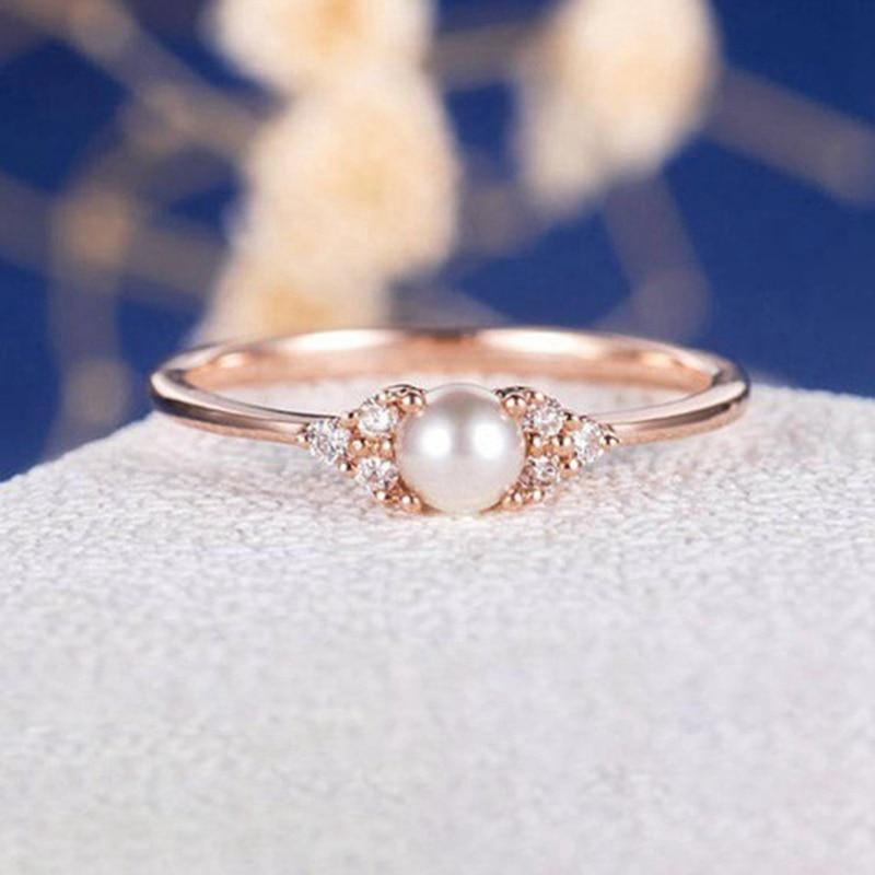European And American Ring Imitation Pearl Wedding Rings For Women Jewelry intothea-intothea