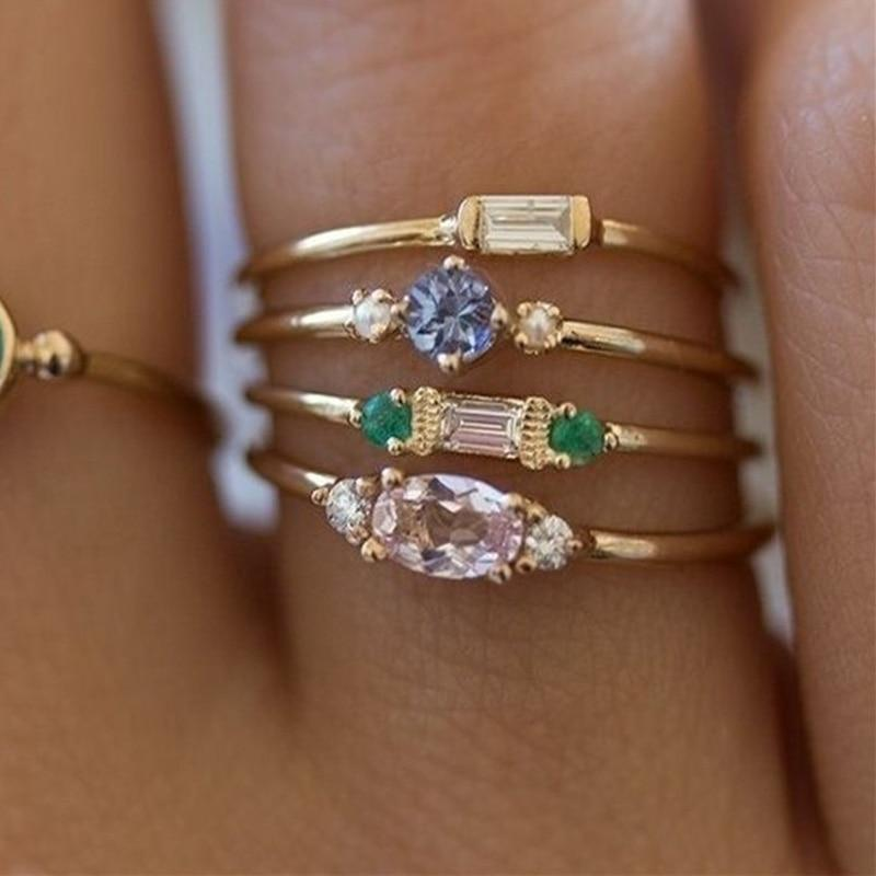 Gold Color Crystal Ring Set 2018 New Arrival 4PCS/Set Valentines Gift Engagementintothea-intothea