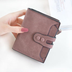 New women's wallet in 2018 Women's short three-fold buckle multi-card vintage fashionintothea-intothea