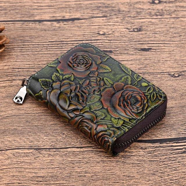 Women Natural Skin Zipper Bifold Wallet Credit Card Holder High Quality Genuineintothea-intothea