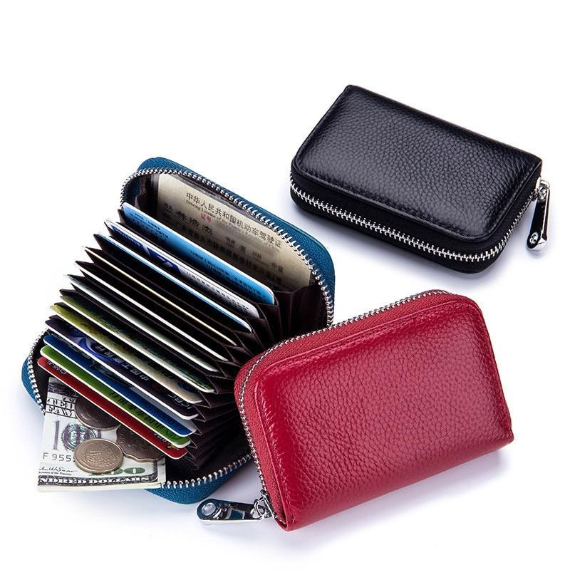 RFID Blocking Small Wallet Women First Layer of Genuine Leather Mini Cuteintothea-intothea