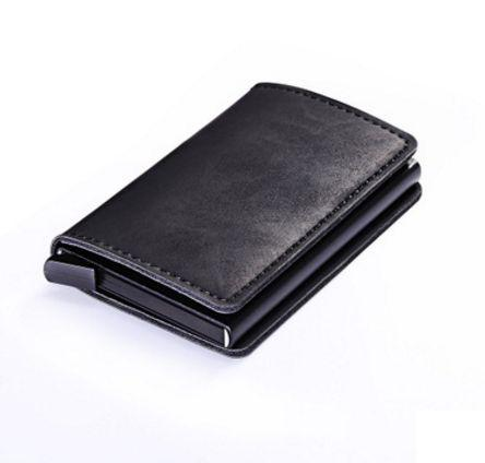 Aluminum Women Men ID Bank Card Holder Pu Leather Wallet Rfid Blockingintothea-intothea
