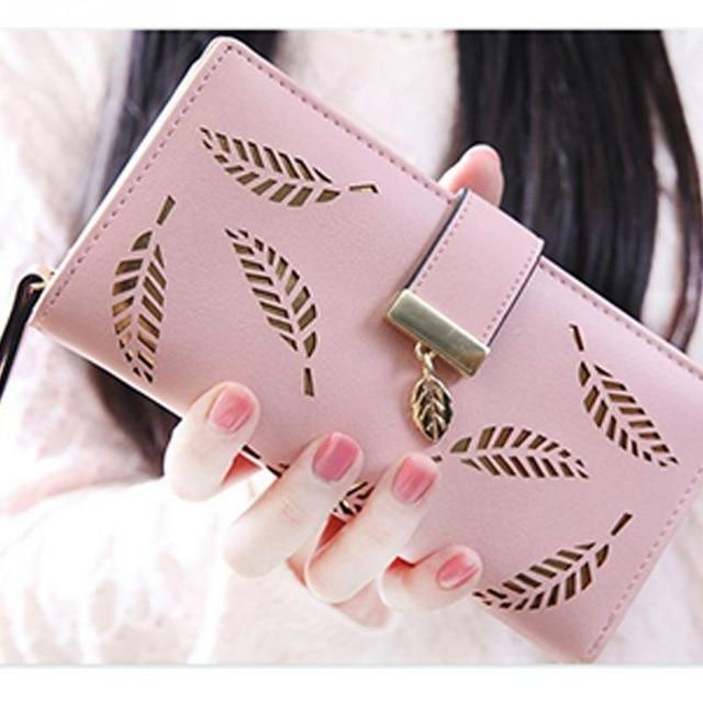 Women Wallets Hollow Leaf Wallet Leather Clutch Women Card Holder Purse Ladyintothea-intothea