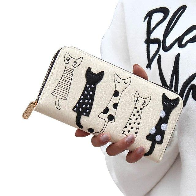 Indira cat wallet Women Zipper Cat Clutch Wallet Long Card Holder Purseintothea-intothea