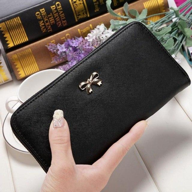 Women Purse Long Bow Wallets Candy Color Wallet PU Thin Card Holdersintothea-intothea