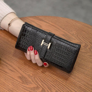 2018 New Women's Crocodile Long Wallet Large Capacity PU Leather Wallets Ladyintothea-intothea