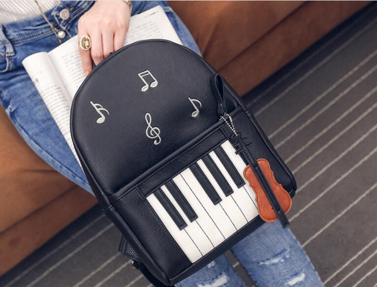 1 piece Shoulder bag female piano notes printing PU backpack women fashionintothea-intothea