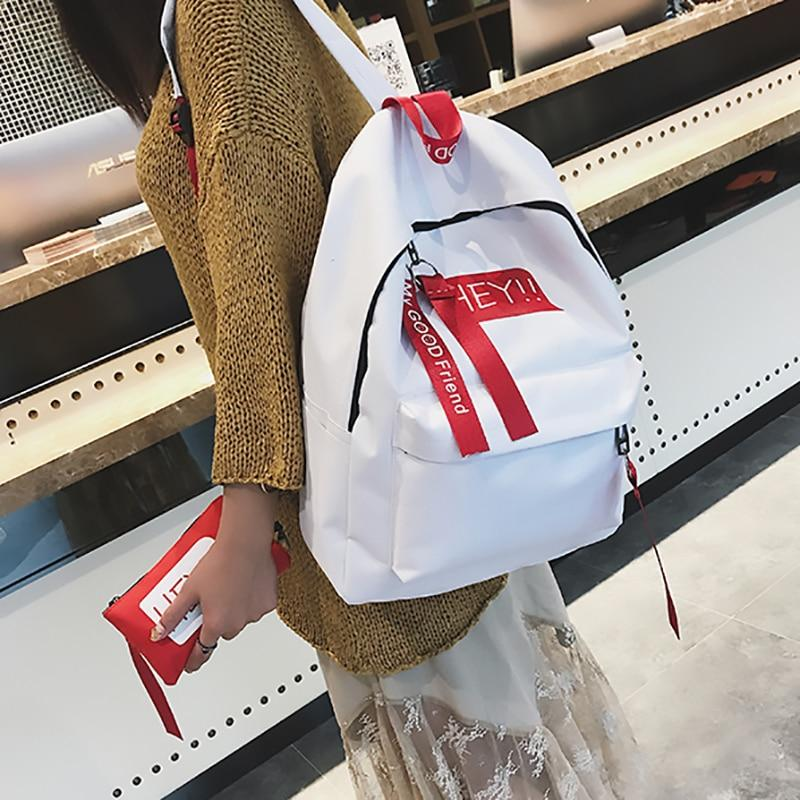 New 2Set Female Backpack Fashion Women Backpack Letter Travel Shoulder Bag Teenageintothea-intothea