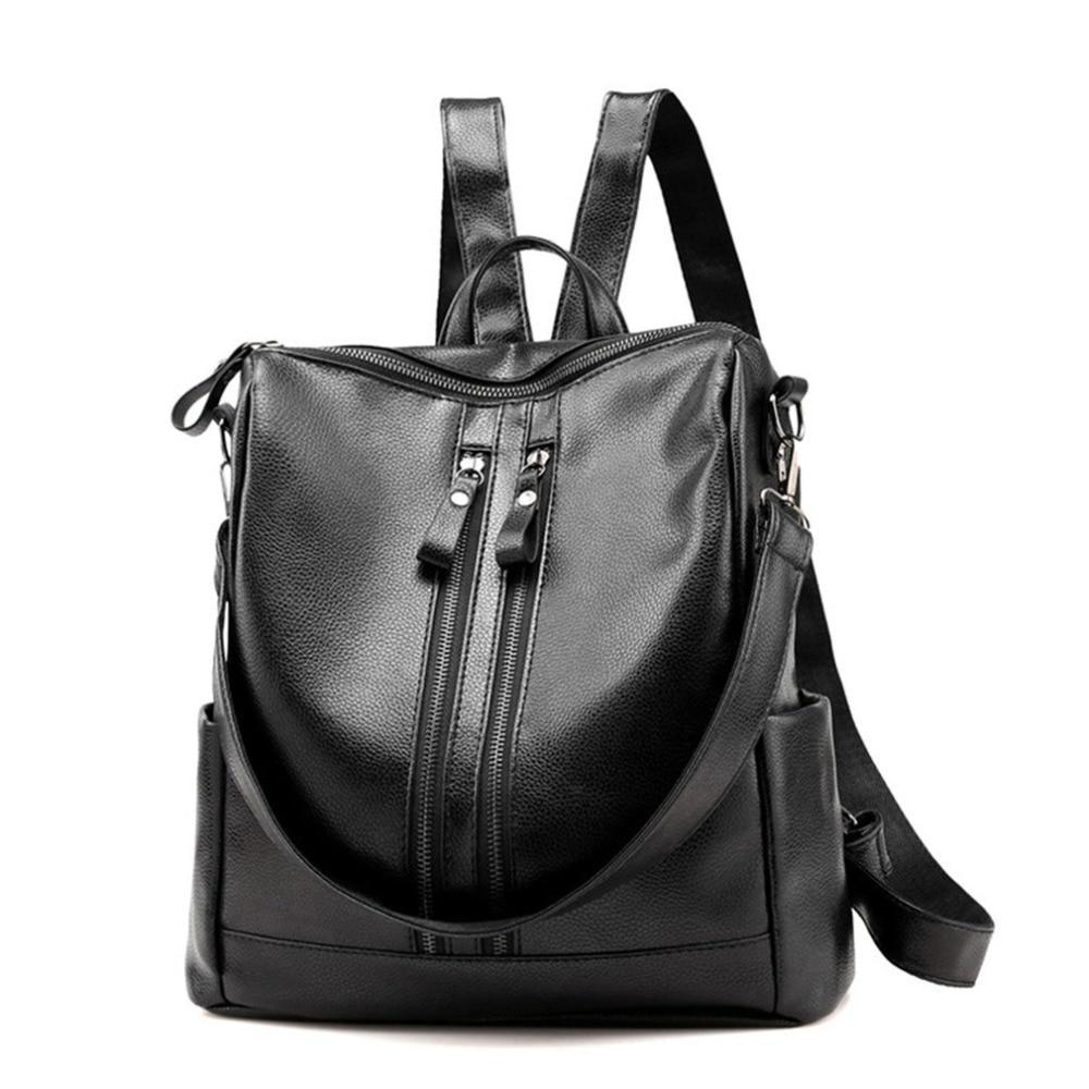 Waterproof PU Leather Lady Backpack Smooth Zipper Single Shoulder Travel Bag Solidintothea-intothea